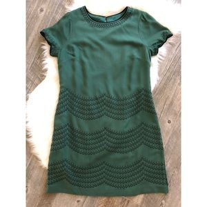 BODEN Green Embroidered Shift Day Dress Size 10L